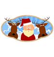 santa and two reindeer vector image