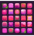 Funny cartoon pink square buttons collection vector image