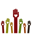 People hands up background vector image vector image