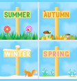 A set of signs with the names of the seasons vector image
