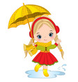 cute little girl with umbrella vector image