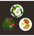 indonesian malaysian food nasi goreng lemak sate vector image
