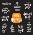 Set of Halloween hand drawn brush calligraphy vector image