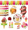 Stylized ice cream icons vector image