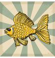 vintage grunge background with goldfish vector image