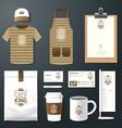 restaurant cafe set flyer menu package t-shirt cap vector image
