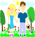 young man and woman on nature vector image