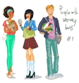 Young people with grocery bags vector image