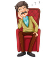 Old man taking a nap on the chair vector image