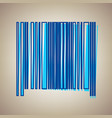 bar code sign sky blue icon with defected vector image