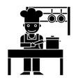 cooker - shef - kitchen restaurant icon vector image