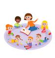 kindergarten kids and teacher reading a book vector image