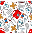Medicines and medical supplies seamless pattern vector image