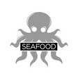seafood restaurant monochrome emblem with grey vector image