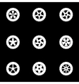 white wheel icon set vector image