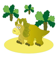 Brown dinosaur Triceratops vector image