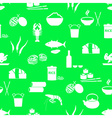 asian food theme set of simple icons green vector image