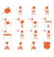grilled chicken icons set vector image