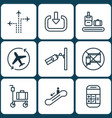 set of 9 traveling icons includes flight path vector image
