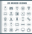 device icons set collection of television call vector image