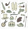Gentlemans vintage accessories doodle set vector image