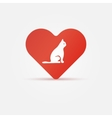 Bright cat in heart icon vector image