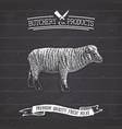 butcher shop vintage emblem lamb meat products vector image