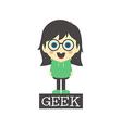 geek girl cartoon vector image