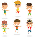 happy cartoon boys jumping vector image