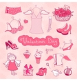 Set of female things for Valentines Day vector image
