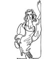 woman in a fur in a sexy pose continuous line vector image