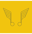 Music logo thin lines with wings vector image