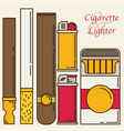cigarette and lighter set vector image