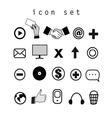 Set of black and white icons on the computer vector image