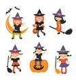 An of cute little witches vector image