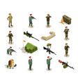 army military isometric elements set vector image