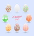 set of painted easter eggs delicate pink and vector image