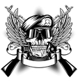 Skull in beret and two Kalashnikov guns vector image