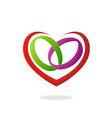 love heart ring wedding logo vector image