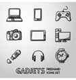 Set of handdrawn GADGET icons with - notebook vector image