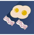 Flat with shadow Icon scrambled eggs and bacon vector image