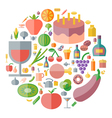icons shape flat food drinks vector image vector image
