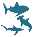 Shark silhouettes isolated on white vector image