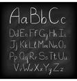 Chalk board hand drawn alphabet vector image