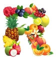Letter R composed of different fruits with leaves vector image