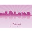 Newark skyline in purple radiant orchid vector image