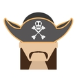 pirate face beard hat with skull bones vector image