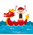 red dragon man with drum sea festival chinese vector image