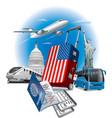 usa american landmarks vector image