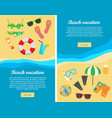 beach vacation flat design web banners vector image